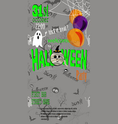 happy halloween invitation card with spiderweb and vector image
