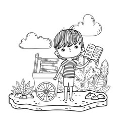 Happy little boy with cart of books in the field vector