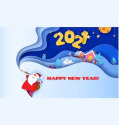 horizontal banner happy new year 2021 santa claus vector image