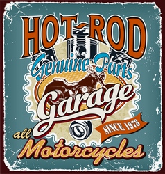 hotrod motorcycles garage crack vector image
