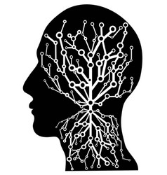 human head with circuit tree vector image