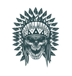 indian skull monochrome hand drawn tatoo style vector image