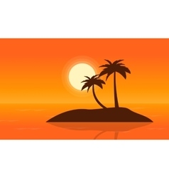Islands on sea at sunset landscape vector image vector image