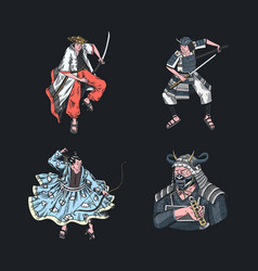 japanese samurai set warriors with weapons sketch vector image