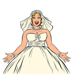 joyful happy bride in wedding dress vector image