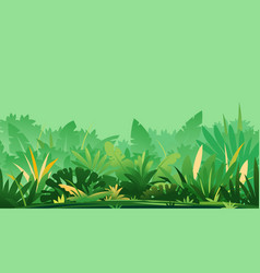 jungle topical plants on green background vector image