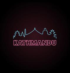 Kathmandu skyline neon style in editable file vector