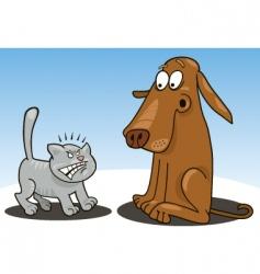 kitten and dog cartoon vector image
