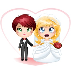Lesbian Brides In Dress And Suit Getting Married vector