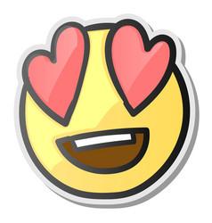 loving eyes emoji - emoticon with hearts eyes vector image