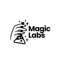 magic lab laboratory hand logo icon vector image
