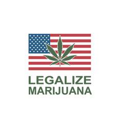 Marijuana leaf on usa flag vector