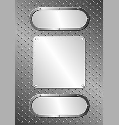 metallic background with three metal plaques vector image