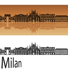 Milan skyline in orange vector image