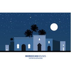Night view of mediterranean arabic or moroccan vector