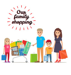 our family shopping flat concept vector image