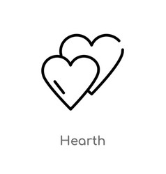 Outline hearth icon isolated black simple line vector