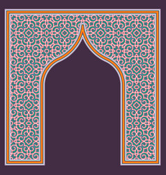 Patterned arched frame in arabic traditional vector