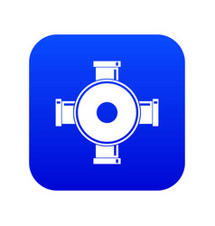 Pipe fitting icon digital blue vector