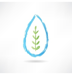 plant in a water drop icon vector image