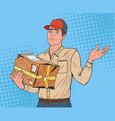Pop art courier with damaged parcel delivery man vector