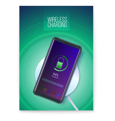 Poster with infographics wireless charging vector