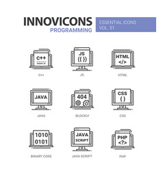 Programming - modern line icons set vector
