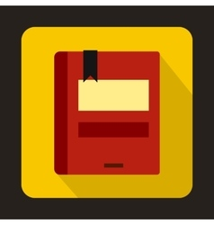 Red closed book icon in flat style vector