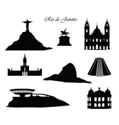Rio de janeiro city signs landmarks set cityscape vector
