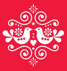 scandinavian floral folk art design vector image