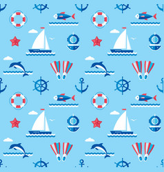 Sea - background seamless pattern in flat vector