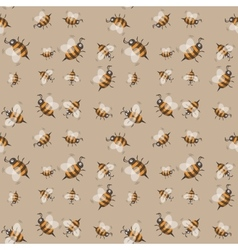 Seamless pattern with striped bees vector image