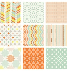 seamless retro patterns collection vector image