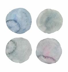 Set four gray watercolor textured dots vector
