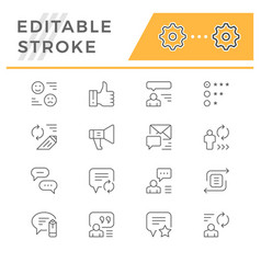 set line icons of feedback vector image
