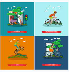 set of bicycle types concept posters vector image
