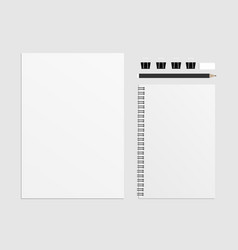 set of blank include a4 notebooks pencils vector image