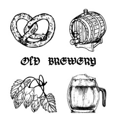 set of old brewery elements collection of vector image
