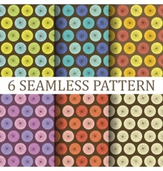 Set of Six Floral Seamless Patterns vector image