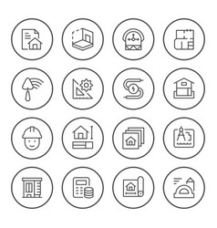 set round line icons architectural vector image