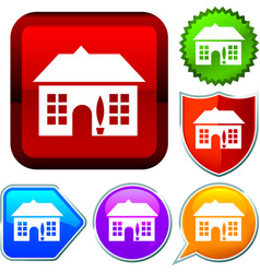Set shiny icon series on buttons cottage vector
