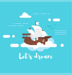 ship in the sky vector image