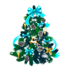 Sketch with cute christmas tree with red ribbon vector