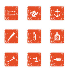 Smoking mix icons set grunge style vector
