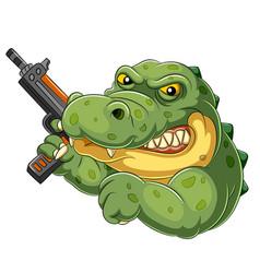Strong and angry cartoon crocodile holding an gun vector