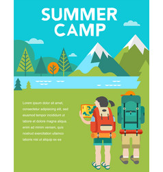 Summer camp poster and flyer vector