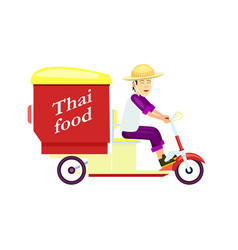 Thai fast food delivery icon with courier man vector