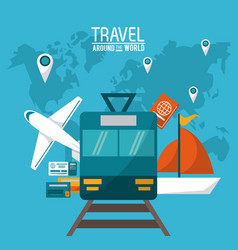 Travel around the world transport vehicles vector