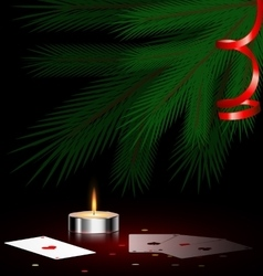 Tree small candle and cards vector