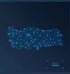 Turkey map with cities luminous dots - neon vector